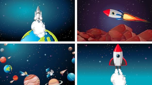 Conjunto de cena do grande espaço