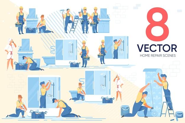 Conjunto de cenários de eletrodomésticos para consertos domésticos mestre