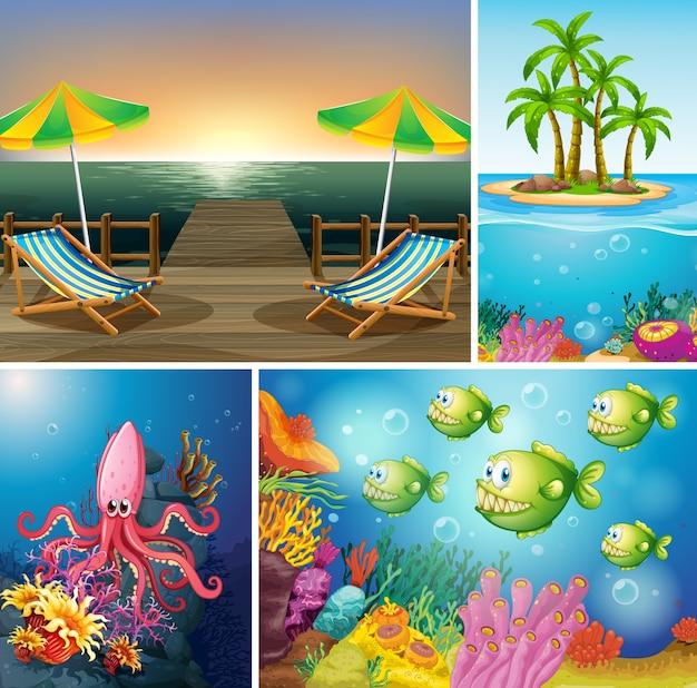 Conjunto de cenários de praia e oceano