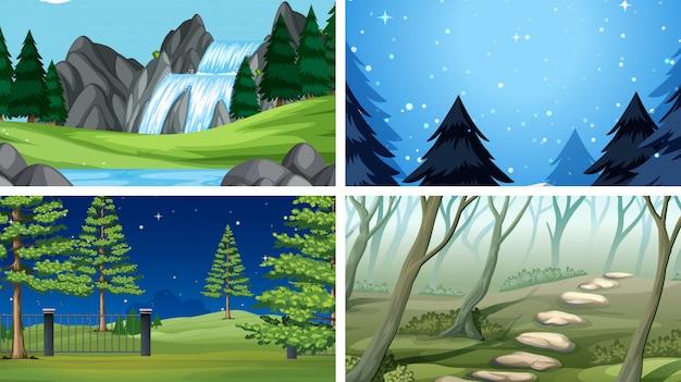 Conjunto de cenas ao ar livre da natureza em branco modelos vazios