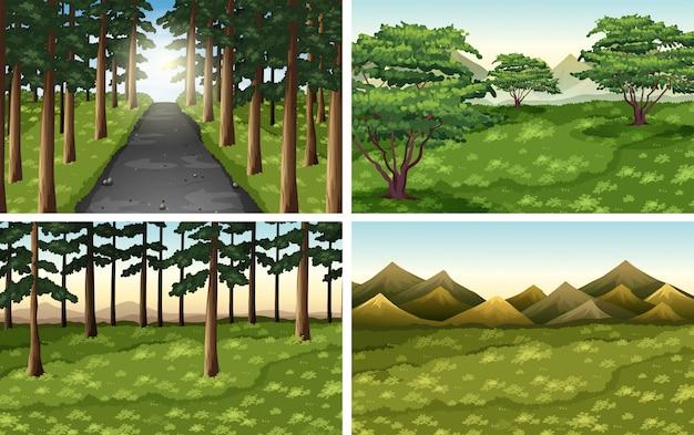 Conjunto de cenas ao ar livre de natureza diferente