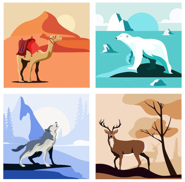Conjunto de cenas com animais.