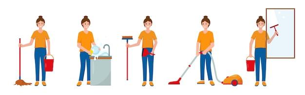 Conjunto de cenas com mulher limpando