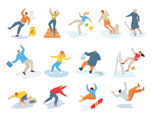 Conjunto de cenas com pessoas caindo em superfícies escorregadias