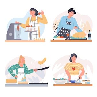 Conjunto de cenas conceituais para cozinhar em casa