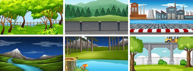 Conjunto de cenas da natureza dia e noite rural e urbana