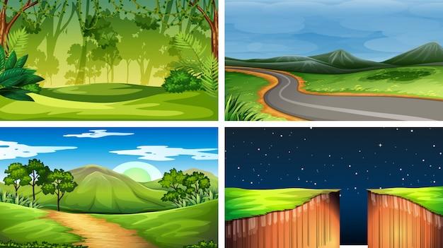 Conjunto de cenas da natureza dia nd noite