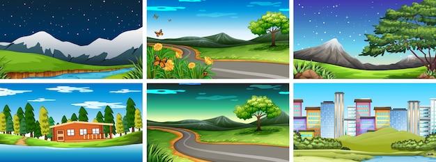 Conjunto de cenas da natureza diferente