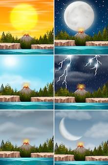 Conjunto de cenas da natureza do vulcão
