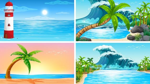 Conjunto de cenas da natureza oceano tropical com praias