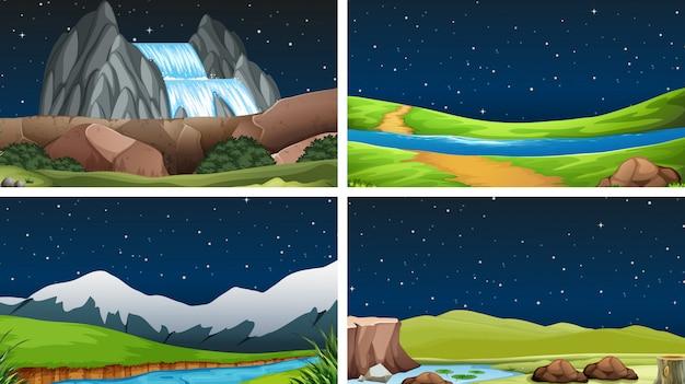 Conjunto de cenas da natureza ou plano de fundo