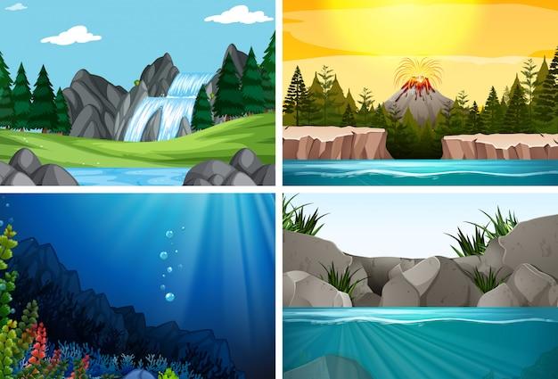 Conjunto de cenas da natureza