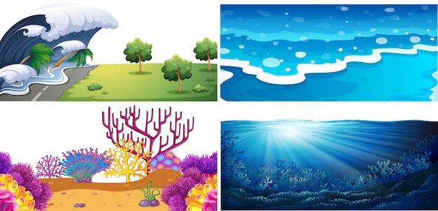 Conjunto de cenas de água