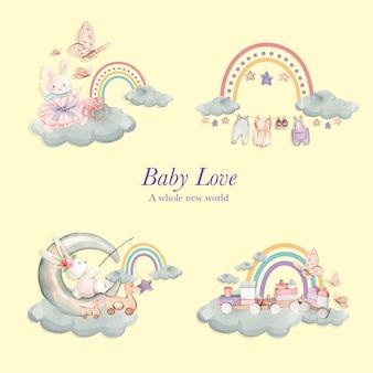 Conjunto de cenas de amor de bebê, estilo aquarela