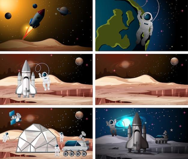 Conjunto de cenas de astronauta