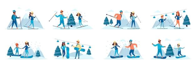 Conjunto de cenas de atividades de esportes de inverno com personagens de pessoas