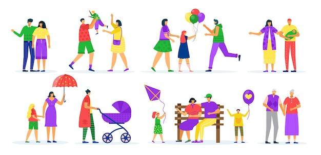 Conjunto de cenas de caminhada de famílias