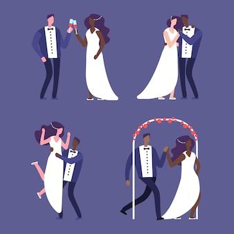 Conjunto de cenas de casamento interracial