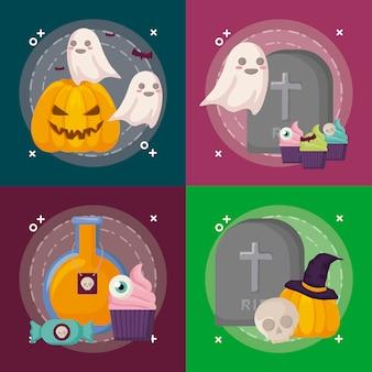 Conjunto de cenas de celebração de halloween