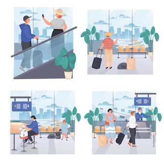Conjunto de cenas de conceito de aeroporto