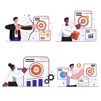 Conjunto de cenas de conceito de alvo de negócios empresário ou mulher de negócios define metas alcança sucesso