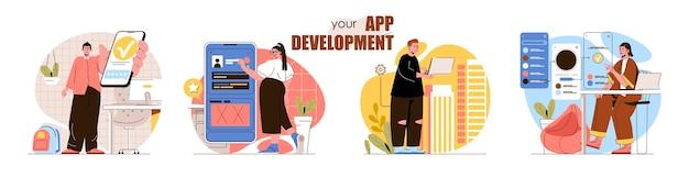 Conjunto de cenas de conceito de desenvolvimento de aplicativos os desenvolvedores criam interfaces de aplicativos de software móvel otimizam produtos coleção de atividades de pessoas