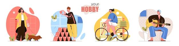 Conjunto de cenas de conceito de hobby mulheres passeando com cachorro ou andando de bicicleta homens construindo castelo de cartas ou aprendendo a tocar violão coleção de atividades com pessoas