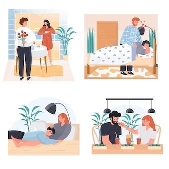 Conjunto de cenas de conceito de relacionamento conjugal