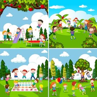 Conjunto de cenas de crianças brincando