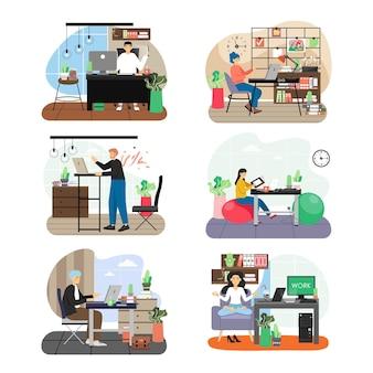 Conjunto de cenas de escritório, ilustração.