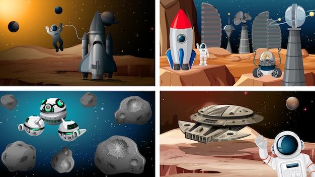Conjunto de cenas de espaços