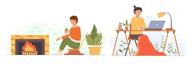 Conjunto de cenas de estilo de vida de higiene desenhada à mão