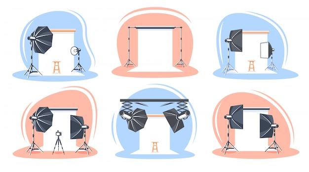 Conjunto de cenas de estúdio fotográfico isoladas no fundo branco.