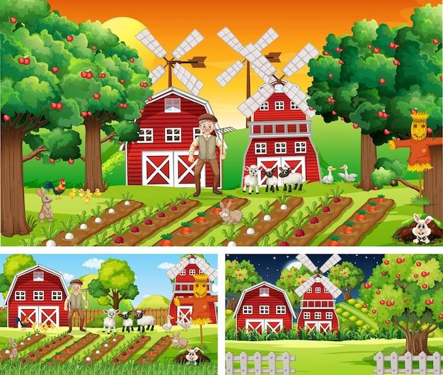 Conjunto de cenas de fazenda em momentos diferentes