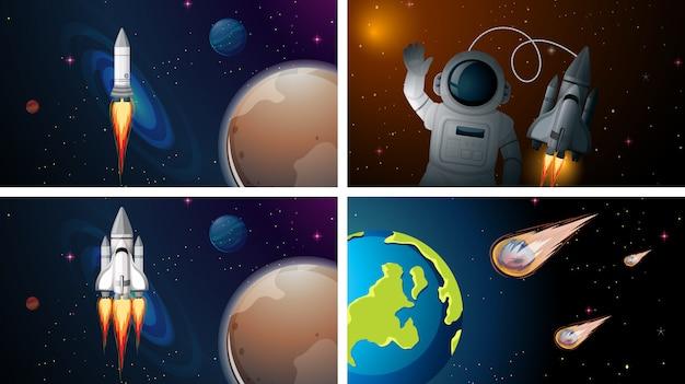 Conjunto de cenas de foguete e astronauta
