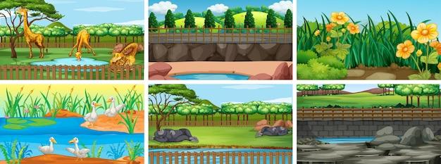 Conjunto de cenas de fundo com a natureza