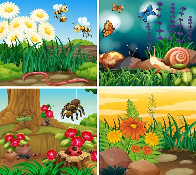 Conjunto de cenas de fundo com tema de natureza