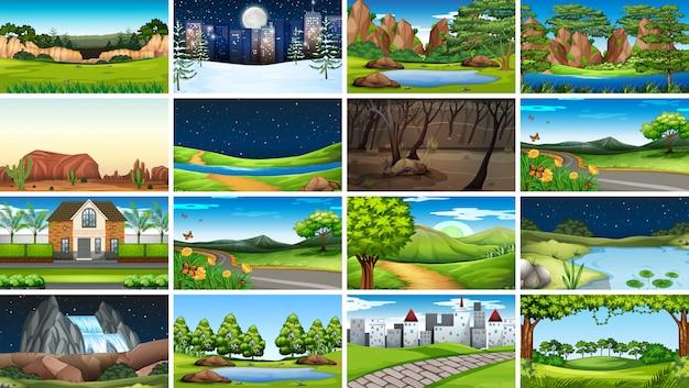Conjunto de cenas de fundo no cenário da natureza