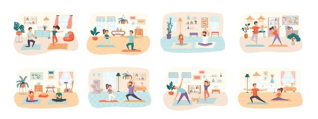Conjunto de cenas de ioga com situação de personagens de pessoas planas