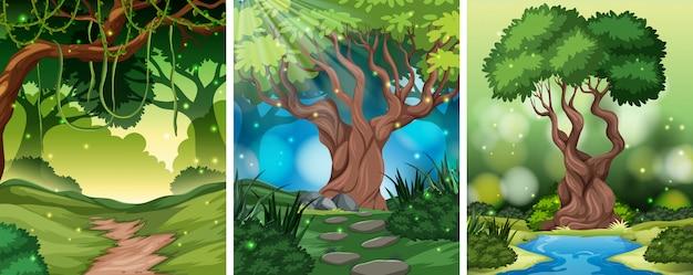 Conjunto de cenas de madeira diferentes