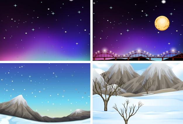 Conjunto de cenas de paisagem diferentes