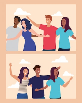 Conjunto de cenas de personagens felizes, jovens, emoção de amizade, alegre rindo de felicidade