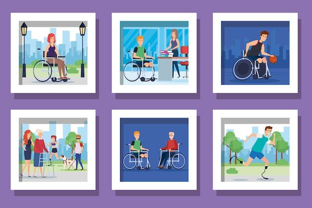 Conjunto de cenas de pessoas com deficiência