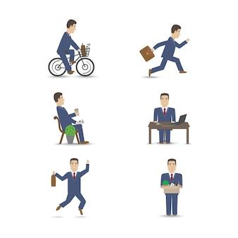 Conjunto de cenas de pessoas de escritório de negócios