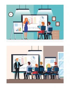 Conjunto de cenas de pessoas de negócios, reunião com apresentação de infográficos