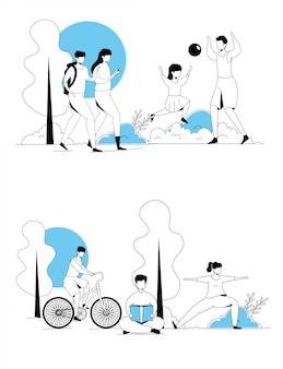 Conjunto de cenas de pessoas fazendo atividades