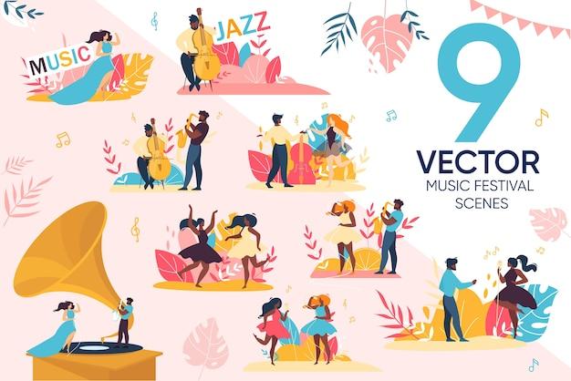 Conjunto de cenas de pessoas para festival de música jazz ao ar livre