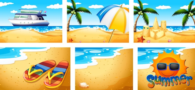 Conjunto de cenas de praia no verão