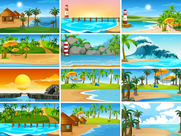 Conjunto de cenas de praia