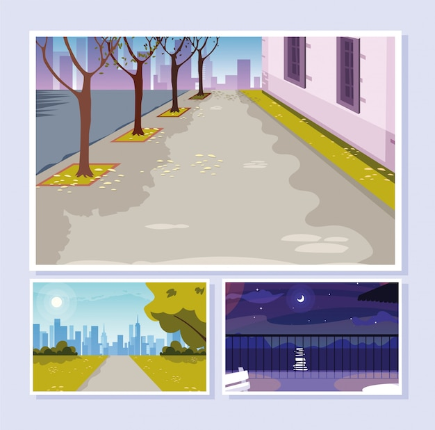 Conjunto de cenas de ruas urbanas